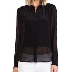 Joie 100% Silk Long Sleeve Hidden Button Blouse